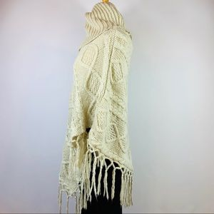 Sweaters - Cream Cowl Neck Fringe Poncho Pullover Sweater